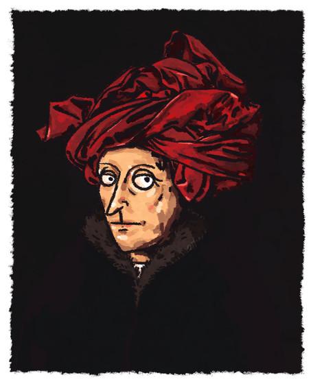 Portrait of a Man in a Red Turban Jan va