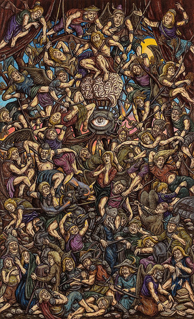 Amin Montazeri, mixed media on canvas, 9