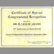 Congressional Citation to H. Leslie Adams