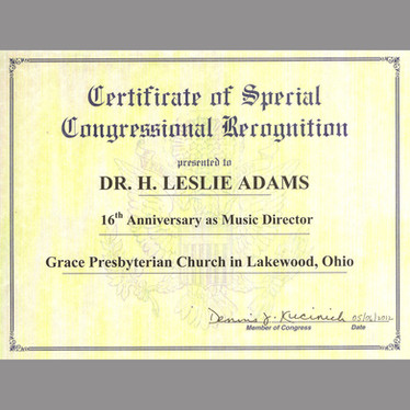Congressional Citation to H. Leslie Adams
