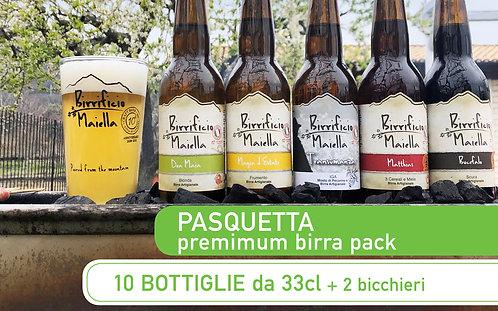 BIRRA PREMIUM  PACK - 10 x 33cl +  2 Bicchieri