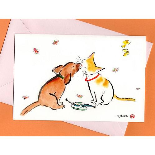 二つ折りグリーティングカード〈愛のあいさつⅢ〉封筒付き