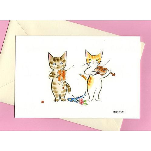 二つ折りグリーティングカード〈音楽の捧げもの〉封筒付き