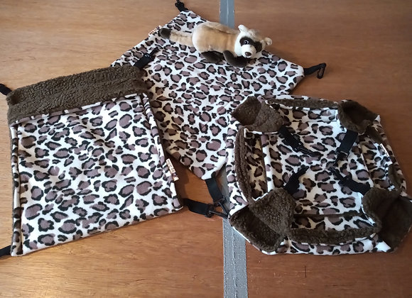 3 Piece Cage Set, Leopard Print- Sherpa Lined.
