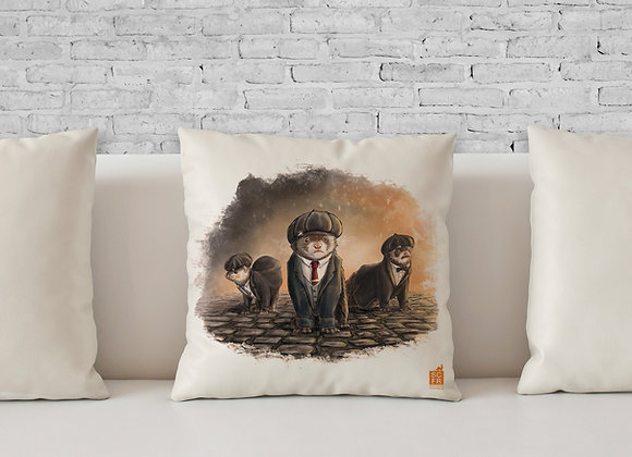 "Peeky Blinder Ferrets, 18"" Cushion Cover + Pad."