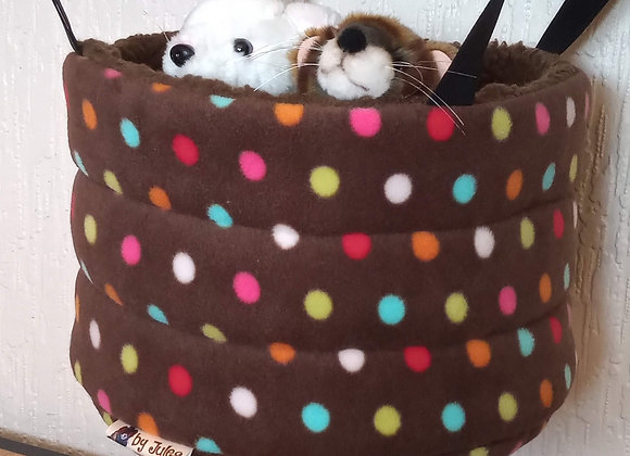 Padded High Snuggly Bed, Sepia Polka.
