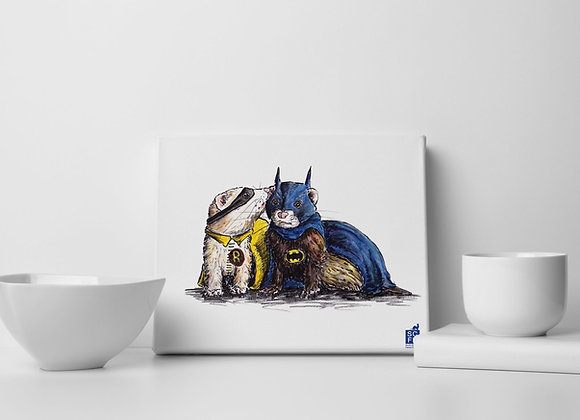 "Batman & Robin  Ferrets, 8"" x 10"" Canvas Print,"