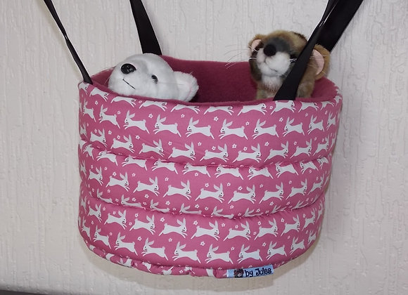 Padded High Snuggly Bed, Raspberry Rabbits.