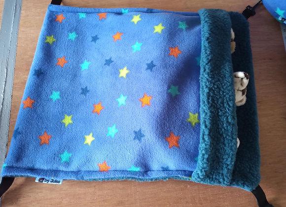 Giant Snuggle Sack, Blue-Violet Stars.