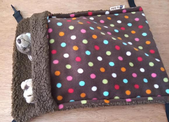 Large Snuggle Sack, Sepia Polka.