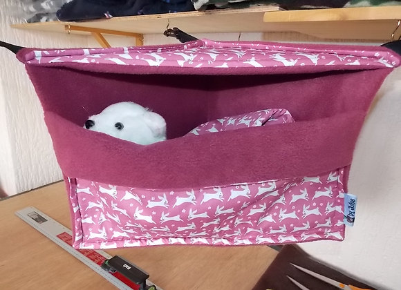 Corner Cosy Cube + Blanket, Raspberry Rabbits.