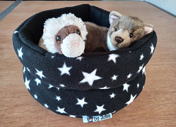 Padded Snuggly Bed, Black Stars.