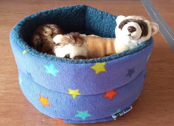 Padded Snuggly Bed, Blue-Violet Stars.