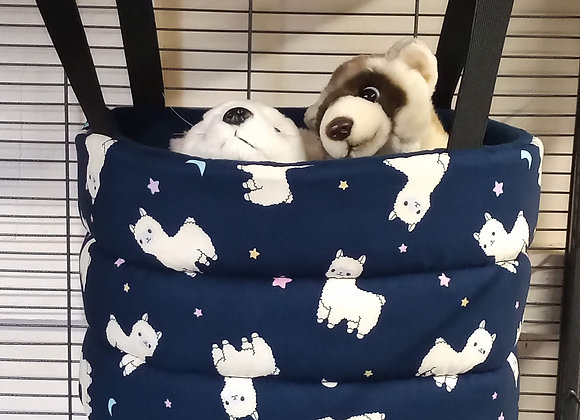 Padded High Snuggly Bed, Navy Llama