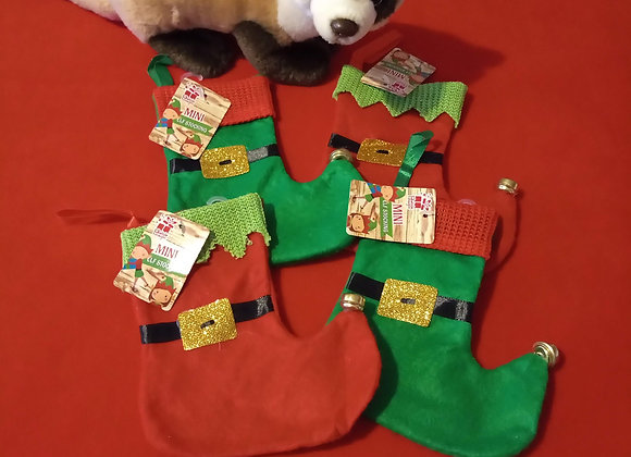 Mini Christmas Stockings, Red + Green.
