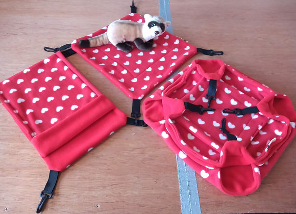 3 Piece Cage Set, Red Love Hearts.  #2