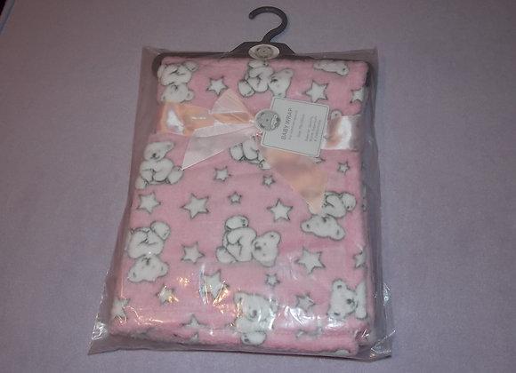 Cuddle Fleece Blanket, Pink Teddies.
