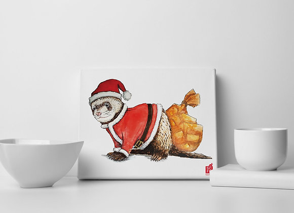 "Santa Clause  Ferret 8"" x 10"" Canvas Print, Illustrated by Sam Ross."