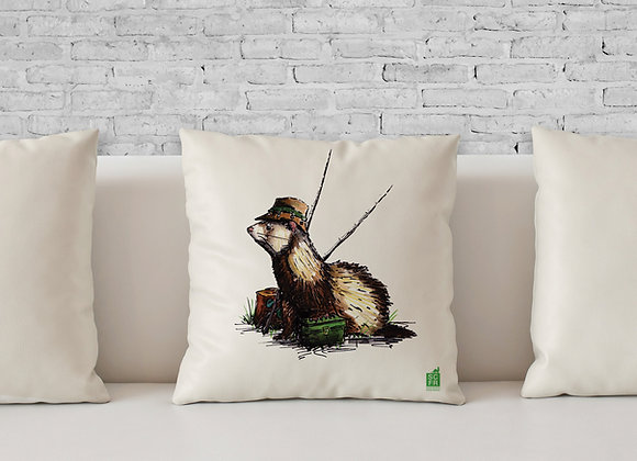 "Fisher Ferret, 18"" Cushion Cover + Pad."