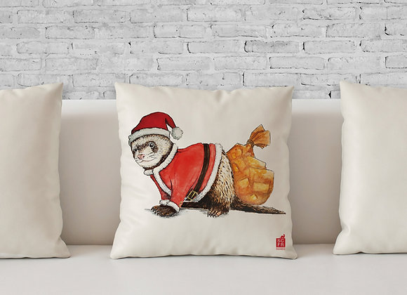"Santa Clause Ferret, 18"" Cushion Cover + Pad."