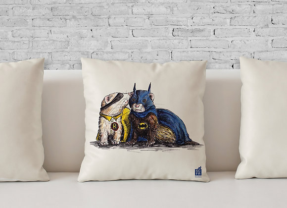 "Batman + Robin Ferrets, 18"" Cushion Cover + Pad."