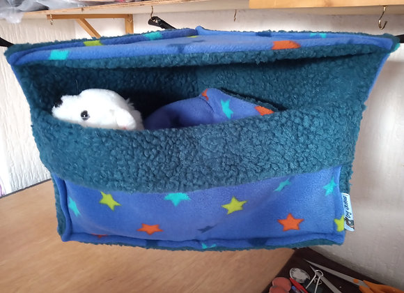 Corner Cosy Cube + Blanket, Blue-Violet Stars.