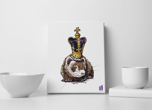 "Queen  Ferret ,8"" x 10"" Canvas Print."