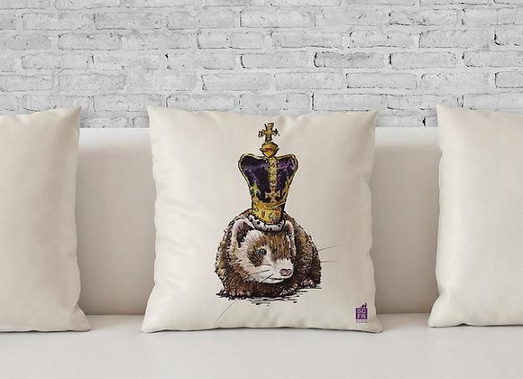 "Queen Ferret, 18"" Cushion Cover + Pad."