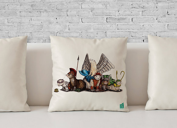 """Mythical Ferrets, 18"""" Cushion Cover + Pad"""