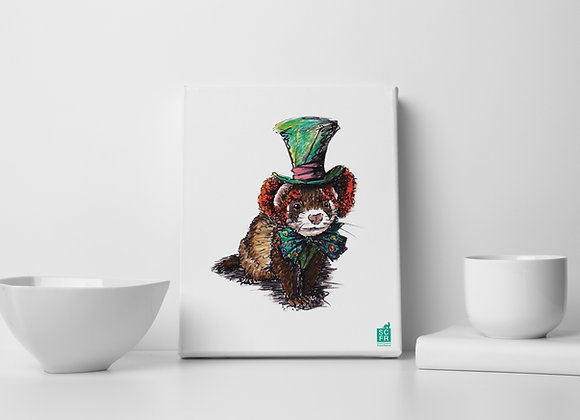 "Mad Hatter Ferret, 8"" x 10"" Canvas Print"
