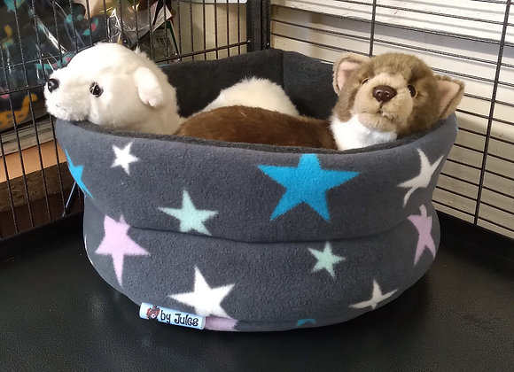 Padded Snuggly Bed, Grey Multi Stars.