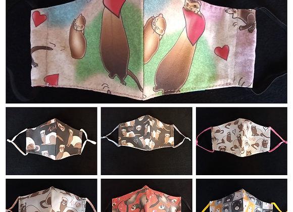 Ferret Face Masks , Various Patterns.