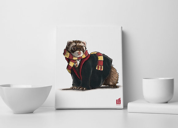 """Harry Potter  Ferret8"""" x 10"""" Canvas Print, Illustrated by Sam Ross."""