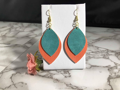Salmon & Distressed Teal Faux Leather Earrings