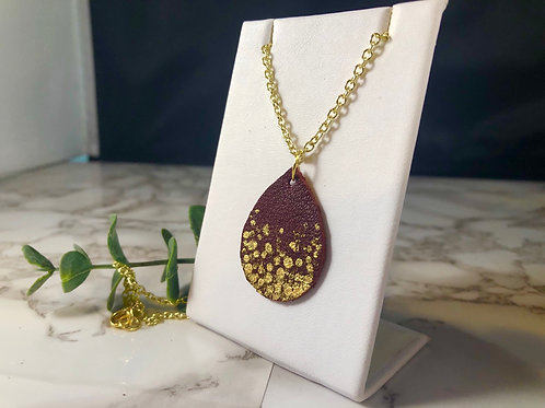 Dark Burgundy Red Recycled Genuine Leather Necklace with Gold Hand Painting