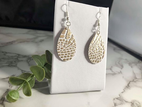 Champagne & Silver Alligator Faux Leather Small Teardrop Earrings