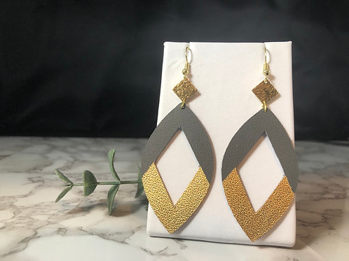 Dark Gray & Gold Genuine Leather Cut out Earrings
