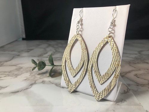 Gold & Silver Crocodile Textured Genuine Leather Cut out Earrings