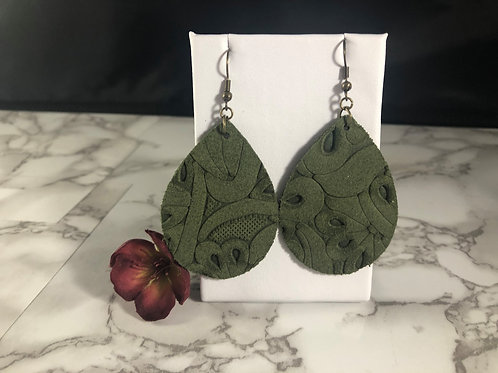 Dark Olive Green Embossed Genuine Leather Teardrop Earrings