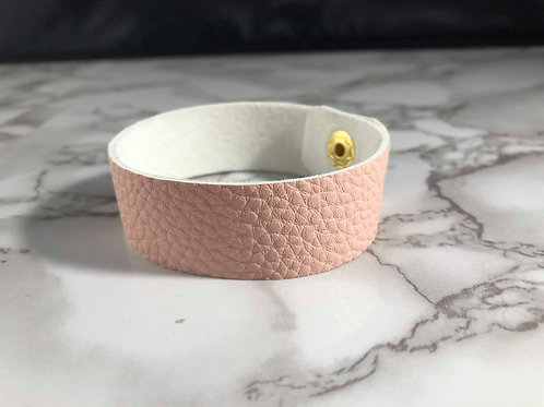 Pastel Pink Pebbled Faux Leather Cuff Bracelet