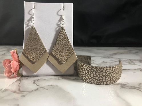 Matte Metallic Taupe & Gray Suede w/ Metallic Taupe Bubbles Genuine Leather Set