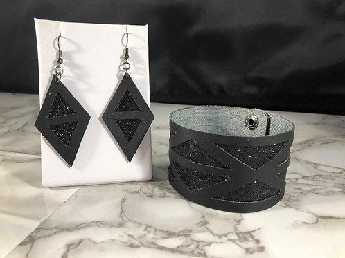 Black on Black Glitter Faux Leather Cuff Bracelet & Earring Set