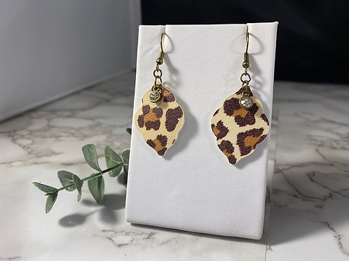 Leopard Print Genuine Leather Earrings with Rhinestones