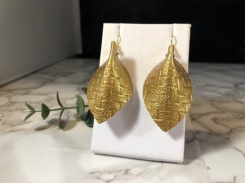 Gold Metallic Basketweave Backwards Pinched Petal Faux Leather Earrings