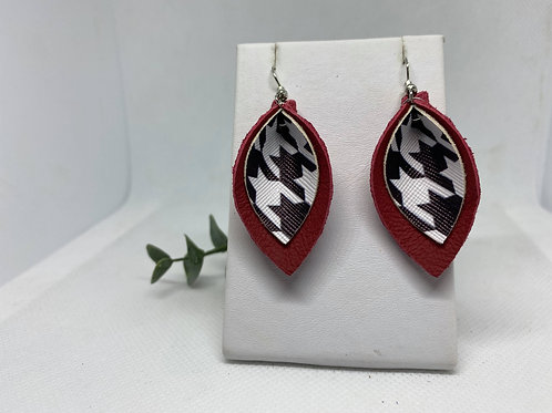 Deep Red Genuine Leather & Houndstooth Pinched Petal Earrings