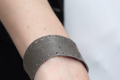Holey Gray Recycled Genuine Leather Cuff Bracelet