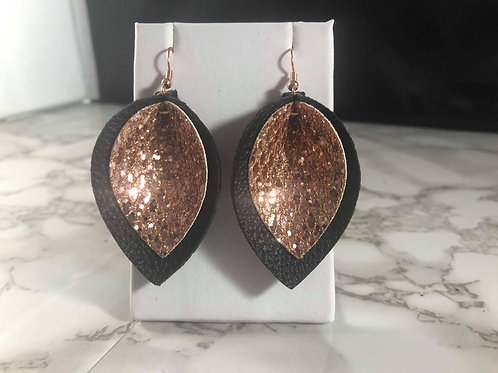Black & Rose Gold Glitter Faux Leather 2 Layer Pinched Petal Earrings