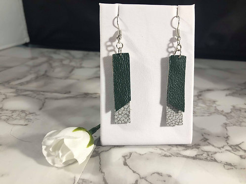 Emerald Green & Gray Cobblestone Recycled Genuine Leather Rectangle Earrings