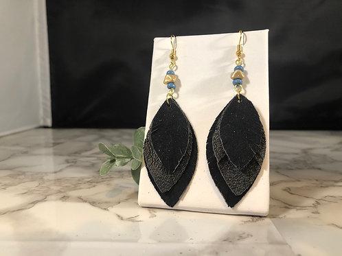 Black on Black Recycled Genuine Leather Fringe Leaf Earrings