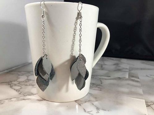 Gray, Silver & Navy Leather/Suede Teardrop Cluster Earrings